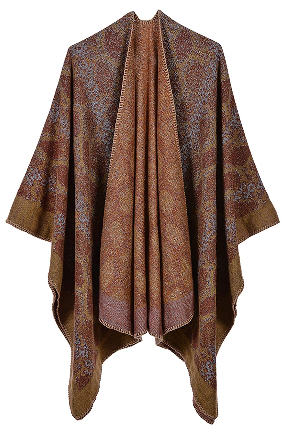Women's Poncho Cape Shawl Cardigans Open Front Leopard Print Blanket Shawls and Wraps (Snakeskin pattern yellow)