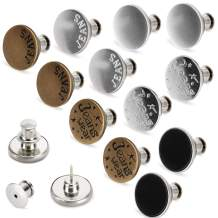 [Upgraded] 12 Sets Button Pins for Jeans,TOOVREN Jean Buttons Replacement No Sew Needed,Perfect Fit Instant Button,Replacement Pin Backs,Adjustable Jean Button,Metal Button Adds Pants Waist in Seconds
