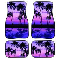 chaqlin Women Flower Front & Rear Floor Mats for Car, Truck, SUV & Van All Weather Liners 4 Piece/Set Nonslip Rubber Coconut Tree Pattern