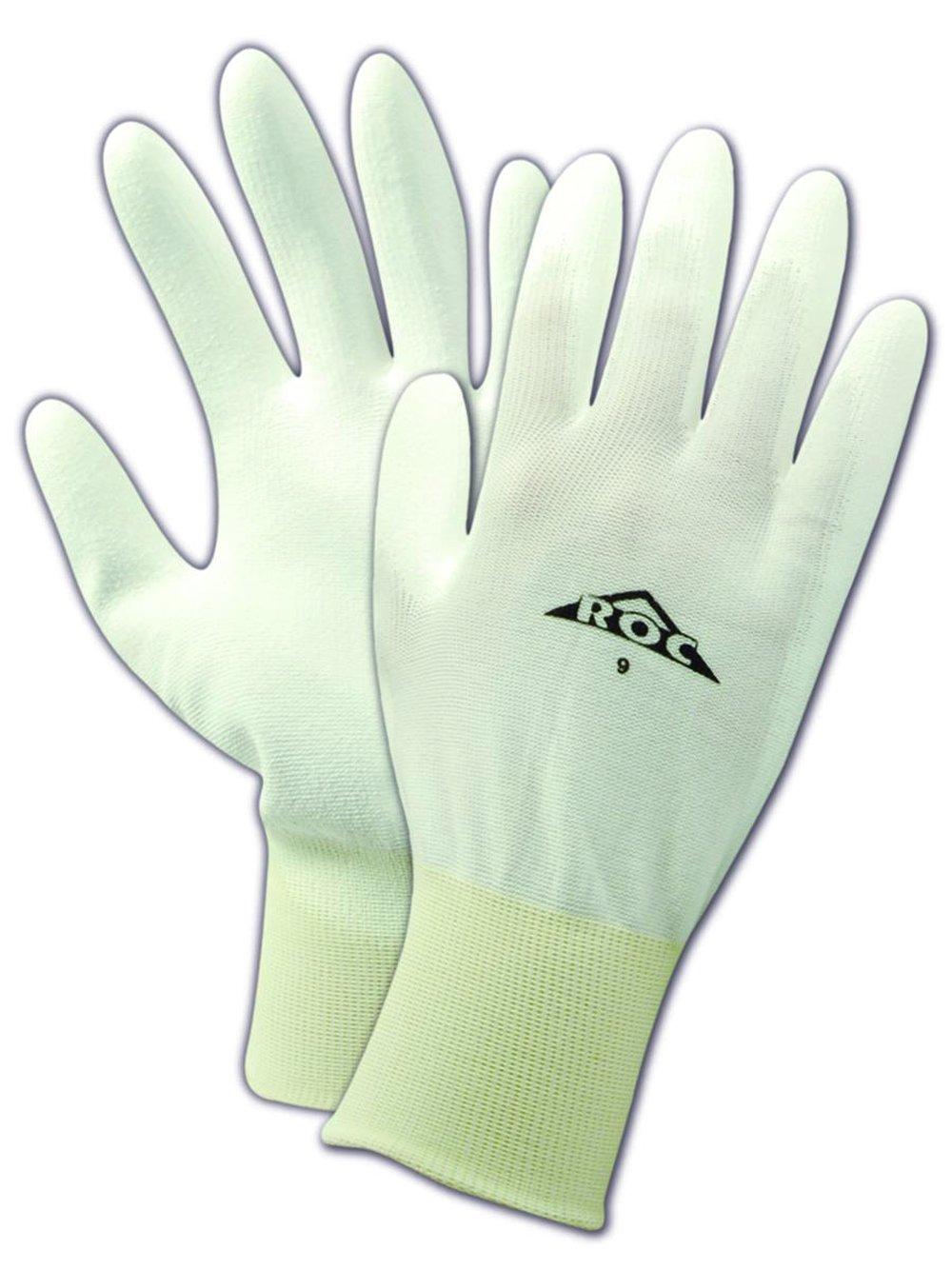 "MAGID ROC PU50 Nylon Glove, Polyurethane Palm Coating, Knit Wrist Cuff, 10"" Length, Size 10 (12 Pair)"