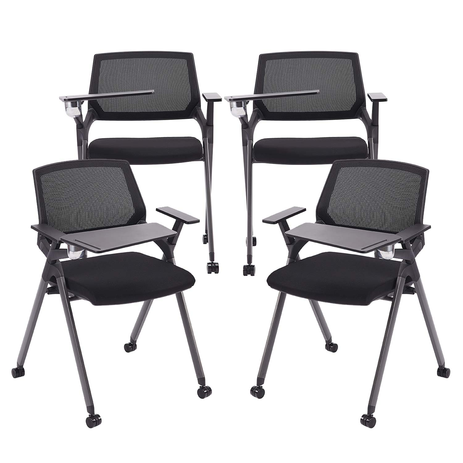 CLATINA Reception Stacking Chair Mesh Guest Nesting with Tablet and Caster Wheels for Office School Training Conference Waiting Room BIFMA Certified Black 4 Pack