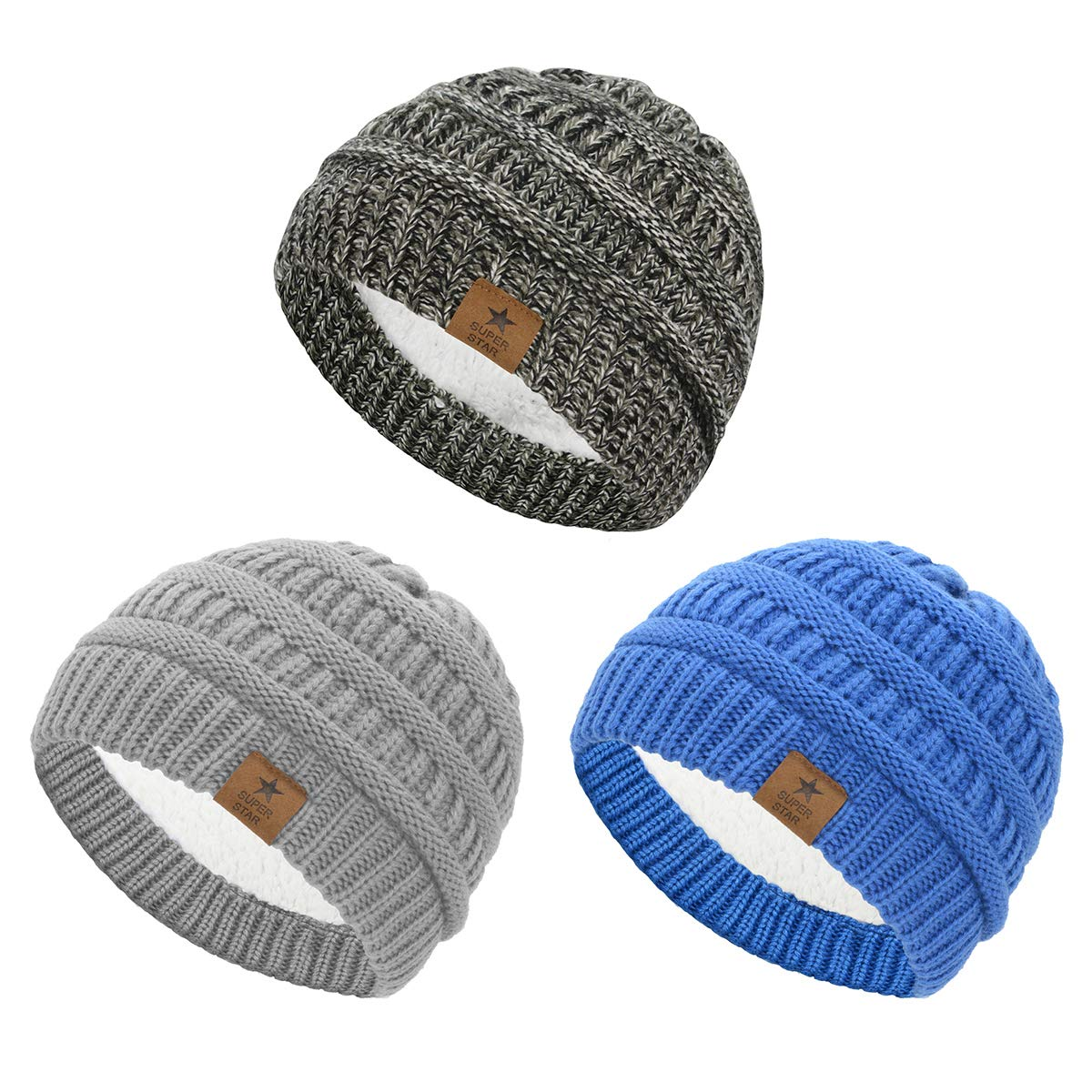 Durio Fleece Lined Soft Baby Boys Girls Infant Toddler Warm Thick Winter Hats Baby Beanies Babies Caps for 0-2 years 3 Pack Black White & Light Grey & Blue