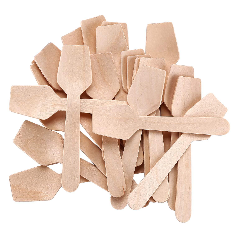 "Gmark 4"" Mini Wooden Spoons Pack of 200, Disposable Square End Tasting Spoon, Sampling Yogurt Spoon Ice Cream Spoon, Biodegradable Compostable Birchwood GM1101"