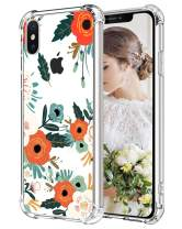 MAHYVE Case for iPhone Xs Max, Girls Crystal Clear Embossed Flower Pattern Design Soft Flexible TPU Shockproof Transparent Full-Body Women Floral Covers, Cases for iPhone Xs Max (Cherry Blossom)
