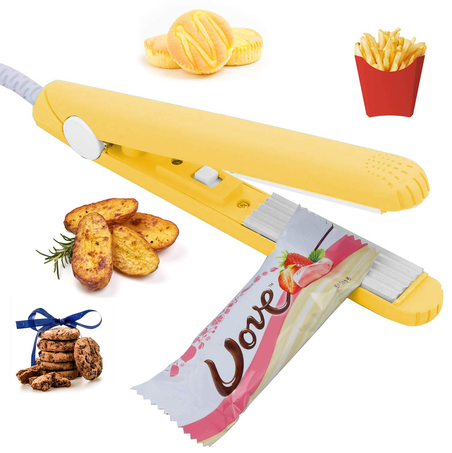 """Smart Bag Sealer Heat Seal Handheld for Food Storage, Portable Food Sealer Heat Sealing Machine with 45"""" Power Cable for Small Plastic Bags, Vacuum Sealer Bags, Chip Bags, Snack Bags -Yellow"""