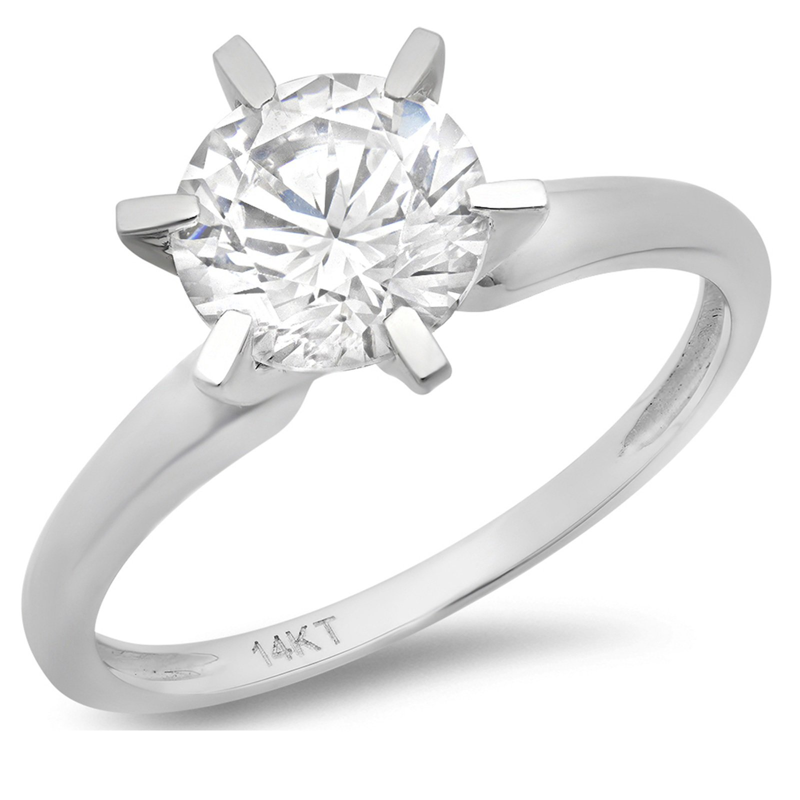 1.0 ct Brilliant Round Cut Solitaire Highest Quality moissanite Engagement Wedding Bridal Promise Anniversary Ring in Solid Real 14k White Gold for Women