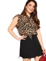 ROMWE Women's Plus Size Elegant Summer Ruffle Sleeveless Leopard Print Tie Neck Blouse Shirt