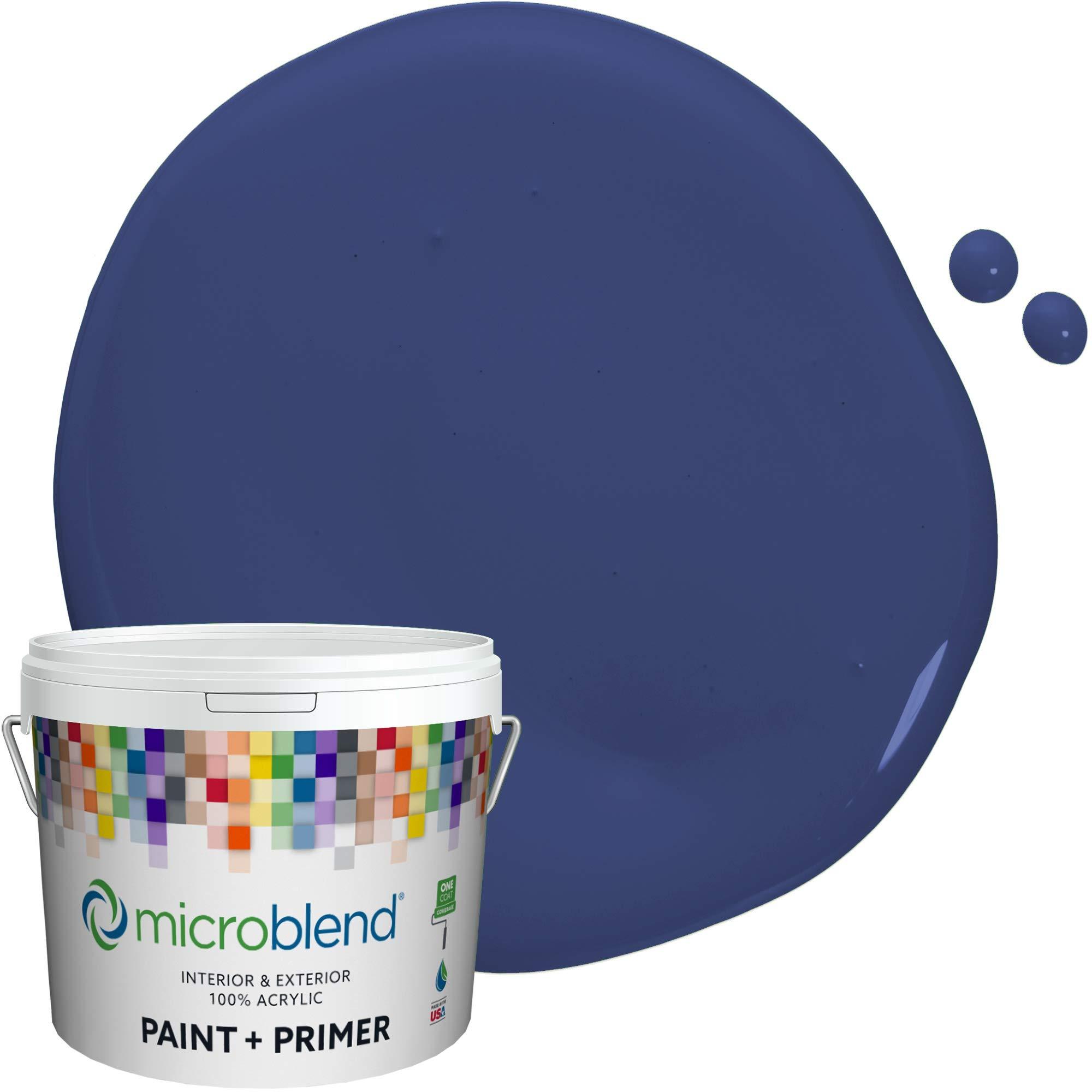 MicroBlend Exterior Paint + Primer, Blue Laser, Flat Sheen, 1 Gallon, Custom Made, Premium Quality One Coat Hide & Washable Paint