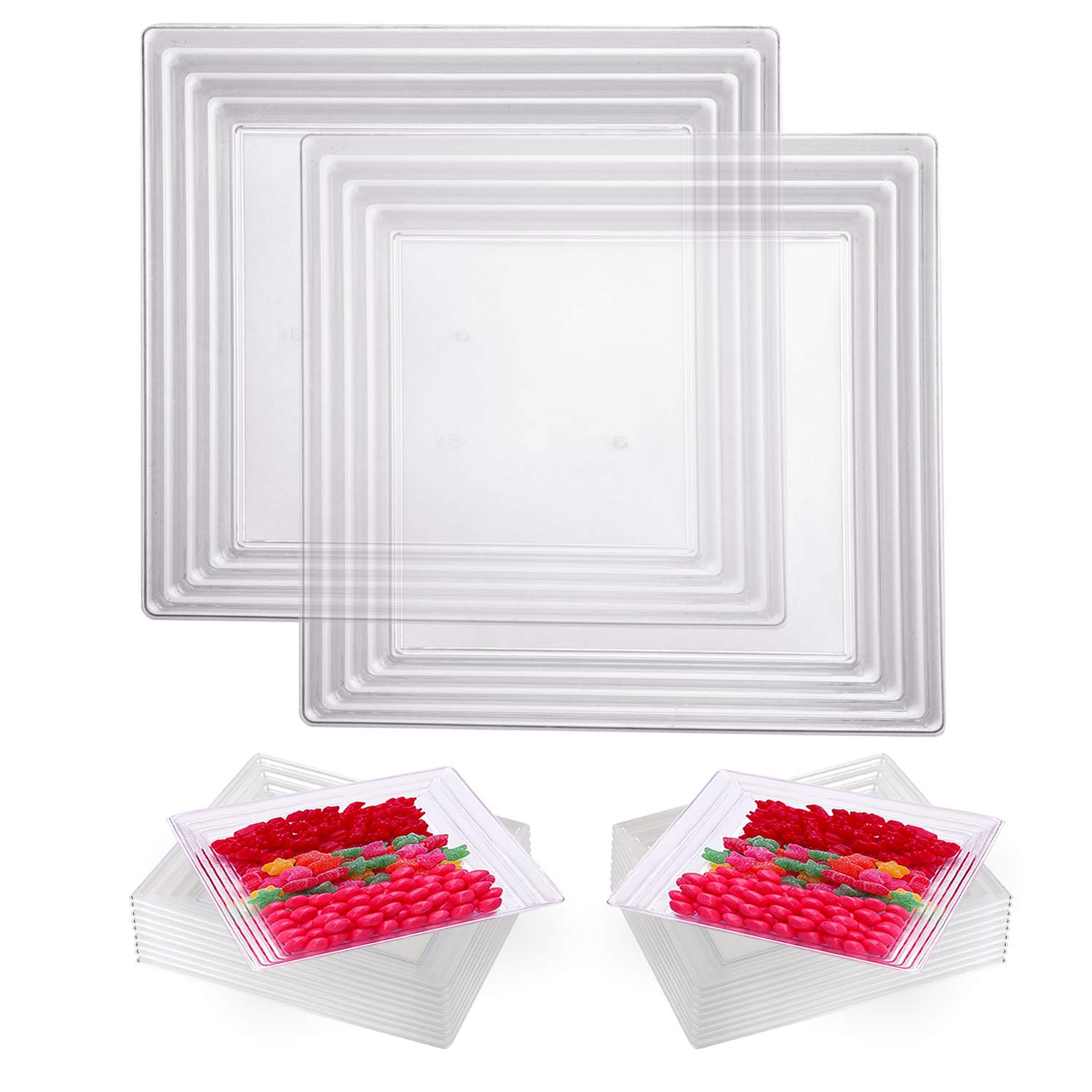 """Elegant Disposable Plastic Serving Trays 24 Pcs – Heavyweight Fancy 12""""x12"""" Square Clear Large Serving Platters - Reusable Appetizer Tray Party Set For Wedding, Thanksgiving, Birthday & All Occasions"""