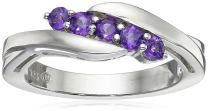 Sterling Silver Five Stone Gemstone Bypass Ring