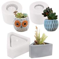 FUNSHOWCASE Flower Pot with Drainage Hole Silicone Molds 3-Count Triangle & Owl & Urban Chic, for Epoxy Resin Concrete Clay Succulent Planter Bowl Ashtray Candle Soap Pen Holder