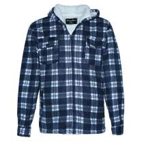 Men's Sherpa Lined Fleece Zip Up Winter Warm Plaid Flannel Jacket with Hoodie