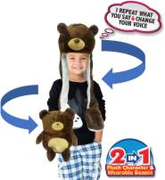 Mindscope Babble Headz 2-in-1 Convertible Plush Characters and Beanie with Voice Changing Mimicking Technology for Kids and Adults (Bear)