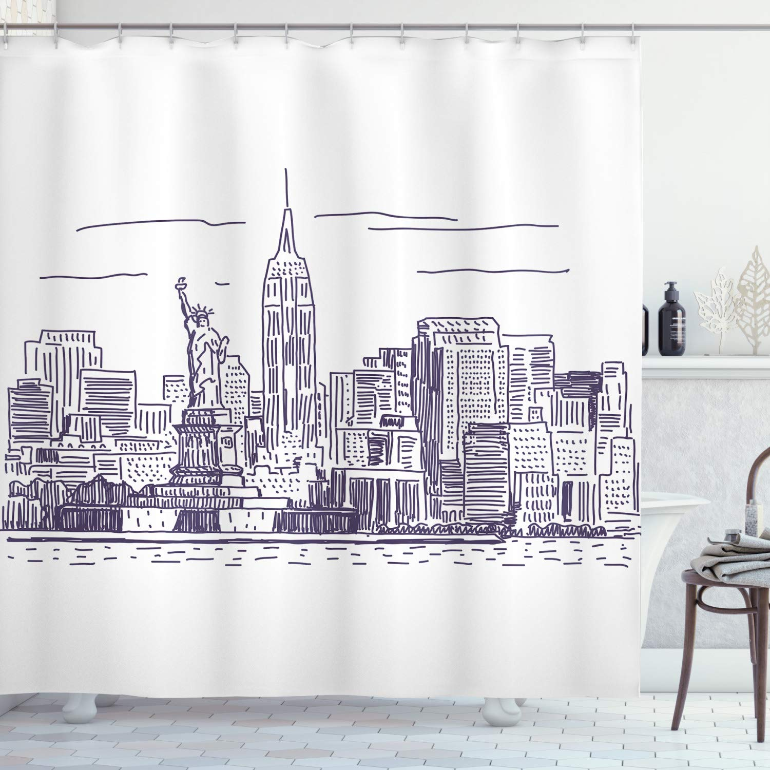 """Ambesonne New York Shower Curtain, Sketchy Simple View of NYC of Liberty Freedom Ellis Island Print, Cloth Fabric Bathroom Decor Set with Hooks, 84"""" Long Extra, Purple White"""