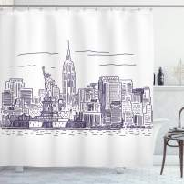 """Ambesonne New York Shower Curtain, Sketchy Simple View of NYC of Liberty Freedom Ellis Island Print, Cloth Fabric Bathroom Decor Set with Hooks, 75"""" Long, Purple White"""