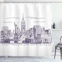 "Ambesonne New York Shower Curtain, Sketchy Simple View of NYC of Liberty Freedom Ellis Island Print, Cloth Fabric Bathroom Decor Set with Hooks, 84"" Long Extra, Purple White"