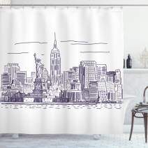 "Ambesonne New York Shower Curtain, Sketchy Simple View of NYC of Liberty Freedom Ellis Island Print, Cloth Fabric Bathroom Decor Set with Hooks, 75"" Long, Purple White"