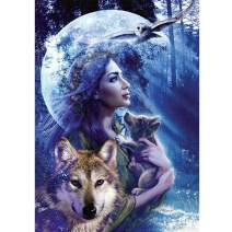 MXJSUA DIY 5D Diamond Painting Full Round Drill Kit Rhinestone Picture Art Craft for Home Wall Decor 12x16In Woman and Wolf in The Forest