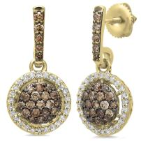 Dazzlingrock Collection 1.15 Carat (ctw) 14K Gold Round Cut Champagne & White Diamond Ladies Cluster Dangling Drop Earrings
