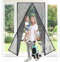 Buzio Magnetic Screen Door, Upgraded with Heavy Duty Fine Woven Mesh, 32 Strong Magnets on The Seam, Full Frame Hook & Loop, Fits Door Size Up to 82 x 36 inches, Black