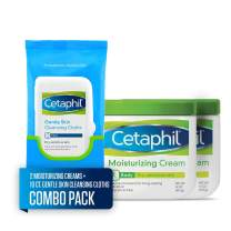 Cetaphil Moisturizing Cream, Two 16 Ounce Jars, plus 10 Count Cetaphil Gentle Skin Cleansing Cloths, Dry, Sensitive Skin (Combo Pack)