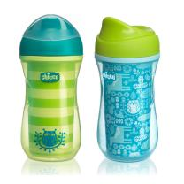 Chicco Insulated Rim Spout Trainer Sippy Cup 9oz 12m+ (2pk) - Green/Teal