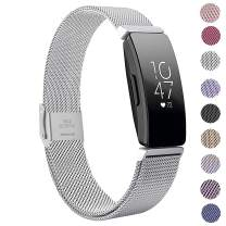 MEFEO Compatible with Fitbit Inspire Bands & Fitbit Inspire HR Band, Stainless Steel Metal Strap Wristbands Sport Bracelet Loop Replacement for Women Men