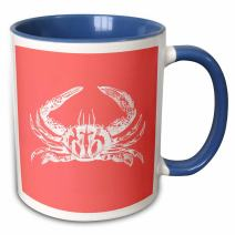 3dRose White Crab On Coral Red-Aquatic Marine Biology-Nautical Beach Sea Two Tone Mug, 11 oz, Multicolor