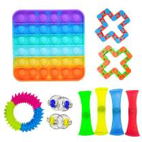 Ma.Lina.Ann Fidget Toys Set, Sensory Toys Pack Cheap for Kids Adults, Simple Dimple Figetget Toys, Stress Relief and Anti-Anxiety Tools, Fidgeting Game Kill Time (Rainbow Square (12PCS))