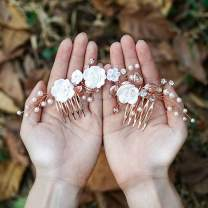 Yean Flower Wedding Hair Comb Pearl Bridal Hair Piece Crystal Hair Accessories for Women and Girls (Rose gold)