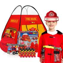 PlaySavvy Firefighter Complete Pretend Playset for Toddlers, Fireman Dress Up Toy Includes Pop Up Play Tent, Fire Truck, Hat, Jacket, Tools, Hydrants, Lil People &More, Fun Gift for Boys & Girls-20 PC