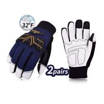 Vgo 2Pairs 32℉ or above 3M Thinsulate C40 Winter Goatskin Leather water repellent Anti-abrasion,Impact Work Gloves(Size XL,Dark Blue,GA2458FW)