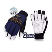 Vgo 2Pairs 32℉ or above 3M Thinsulate C40 Winter Goatskin Leather water repellent Anti-abrasion,Impact Work Gloves(Size L,Dark Blue,GA2458FW)