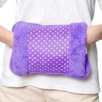 WITERY Heat Hot Water Bottle Electric Rechargeable Heating Pad Bottle Heating Bag with Fleece Hand Warmer Portable Safe Explosion Proof No Water Injection for Arthritis and Pain Relief(Purple)
