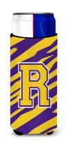 Monogram - Tiger Stripe - Purple Gold  Letter R Ultra Beverage Insulators for slim cans CJ1022-RMUK