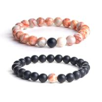 iSTONE Distance Bracelets Black Matte Agate & White Howlite Energy Healing Stone Beads Bracelet Set Couple Jewelry