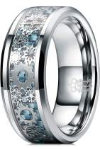 THREE KEYS JEWELRY 8mm Tungsten Rings Silver Punk Seal Gear Mechanical Light Blue Carbon Fiber with Metal Foil Inlay Wedding Bands for Men Size 6.5