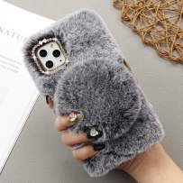 for iPhone 11 Case Soft Plush Case with Detachable Makeup Mirror Warm Cute Cover for Girls Women Luxury Bling Crystal Rhinestone Winter Fuzzy Fluffy Furry Case for iPhone 11 Dark Grey