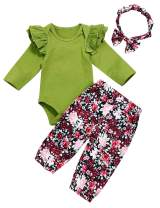 Seyouag Baby Girl Fall Outfit Ruffle Romper and Floral Pants Winter Clothes Set