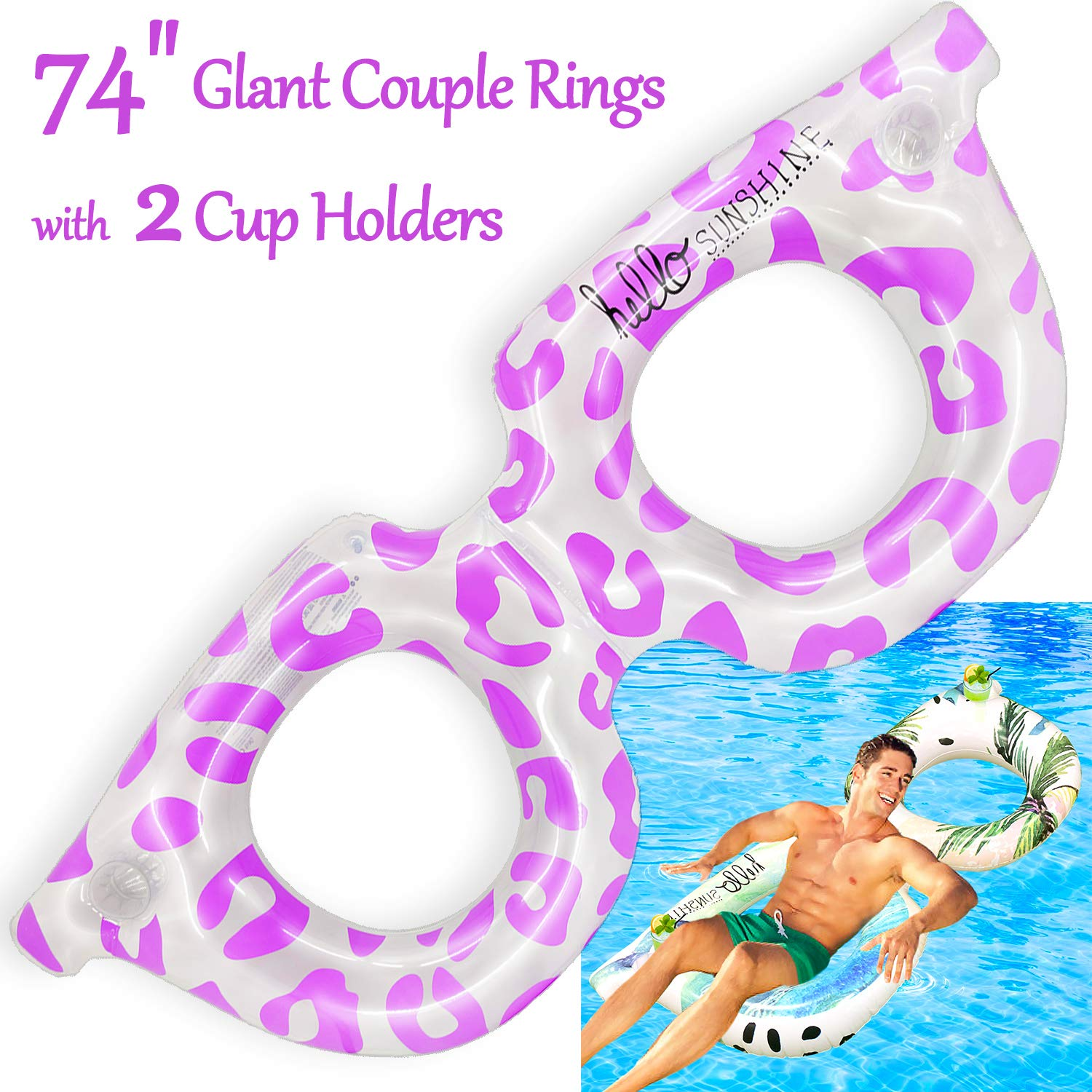"""AMENON 74"""" Giant Sunglass Inflatable Pool Float Couple Rings Pool Float Lounge with 2 Cup Holders, Funny Beach Floaties Swim Party Toys Summer Pool Raft Lounger Chair Float for Adults & Kids (Pink)"""