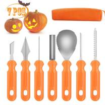 Emopeak Halloween Pumpkin Carving Kit, 7Pcs Professional and Heavy Duty Stainless Steel Jack-O-Lanter Tools Set, Pumpkin Carving Set with Carrying Case