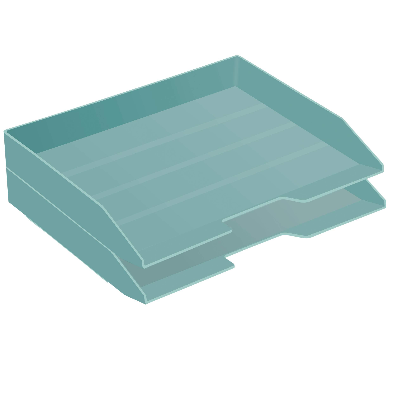 Acrimet Stackable Letter Tray 2 Tier Side Load Plastic Desktop File Organizer (Solid Green Color)