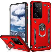 IKAZZ Galaxy S21 Ultra Case,Samsung S21 Ultra Cover Military Grade Shockproof Heavy Duty Protective Phone Case Pass 16ft Drop Test with Magnetic Kickstand for Samsung Galaxy S21 Ultra Red