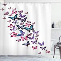 """Ambesonne Butterflies Shower Curtain, Various Different Butterflies with Wings Feminine Companionship Fun, Cloth Fabric Bathroom Decor Set with Hooks, 70"""" Long, Purple Pink"""