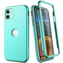 """SURITCH Case for iPhone 11,【Built in Screen Protector】【Support Wireless Charging】 Soft TPU Back Cover Hybrid Bumper 360 Full Body Protection Rugged Case Shockproof for iPhone 11 Case 6.1""""(Mint)"""