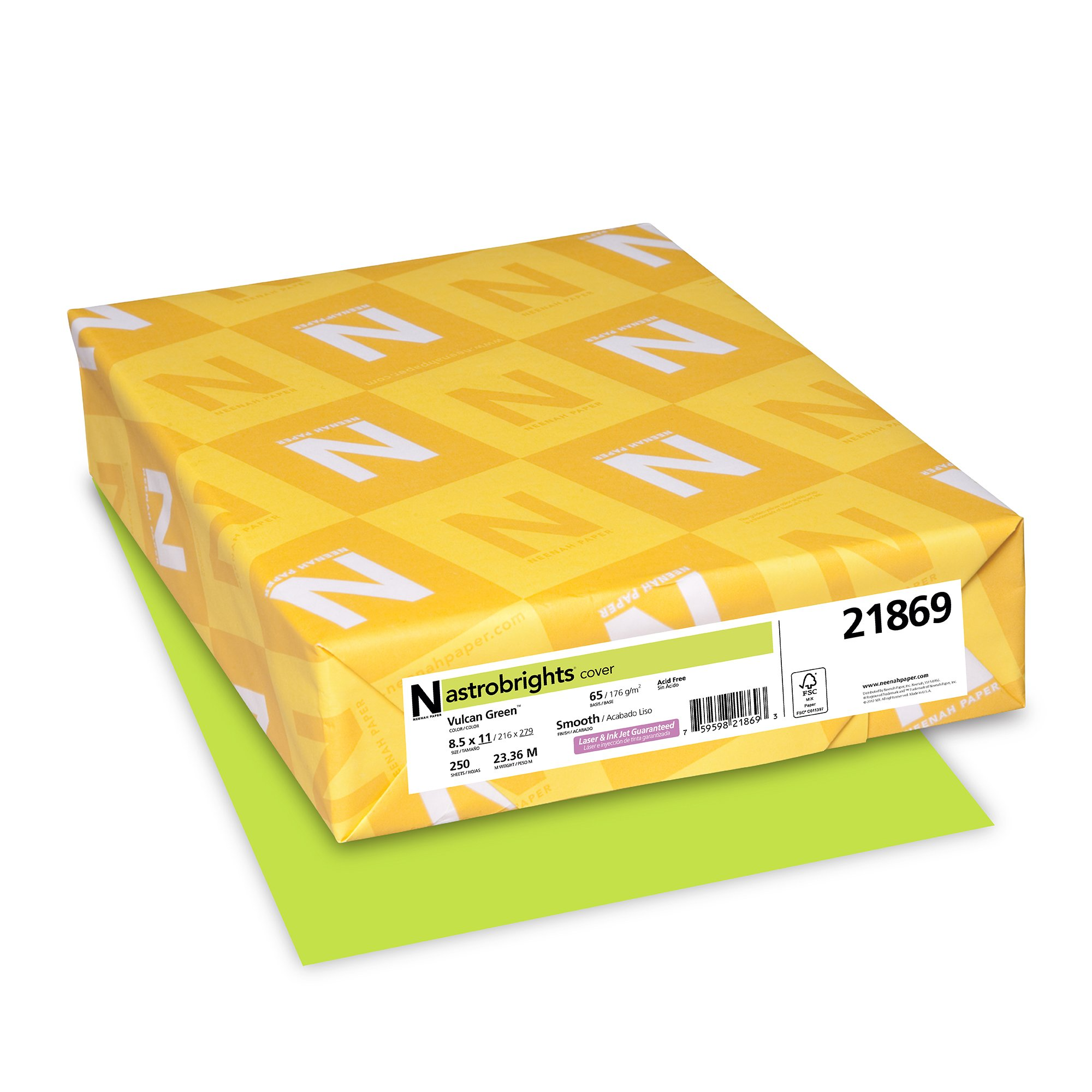 "Neenah Wausau 21869 Astrobrights Colored Cardstock, 8.5"" x 11"", 65 lb / 176 GSM, Vulcan Green, 250 Sheets"