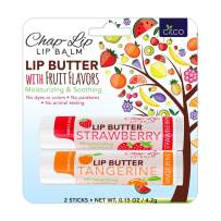 Lip Balm with Beeswax, Cocoa Butter Chapstick Bulk & Lip Moisturizer – Chap Stick with Vitamin E, Coconut Oil Total Hydration for Treatment and Lip Therapy – Fruit Flavors (2 Count)