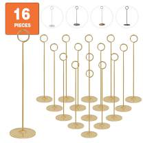 Urban Deco 16 Pieces Table Card Holder 12 inches Gold Place Steel Card Holders for Photos, Food Signs, Memo Notes, Weddings, Restaurants, Birthdays.