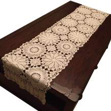 """USTIDE Rustic Floral Table Runner Hand Crochet Table Doily Beige Cotton Lace Table Decoration for Coffee Table 15""""X59"""""""