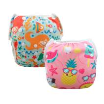 ALVABABY Baby Swim Diapers 2pcs Reuseable & Adjustable 0-2 Years Baby Shower Gifts (Baby Girls) SWD37-39